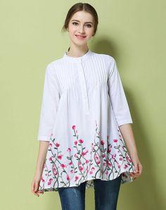 VIPme (VIPSHOP Global) - GUSTAVO ARANGO White Mid-length Floral Stand Collar Embroidery Shirts - AdoreWe.com