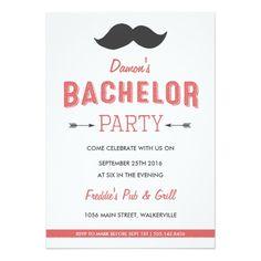 Mustache Bachelor Party Invitation Card