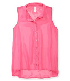 Sheer Solid Chiffon Woven Tank from Aeropostale