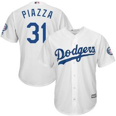 Mike Piazza L.A. Dodgers Majestic 2016 Hall Of Fame Induction Cool Base Jersey with Sleeve Patch Jersey - White