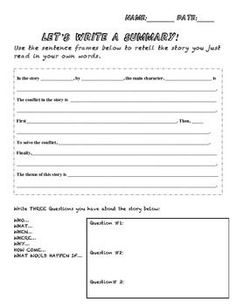 Write an objective summary rcd unit 1 pinterest anchor charts use these sentence frames to write a summary paragraph using academic languagerfect for eld students who are learning how to summarize short stories thecheapjerseys Images