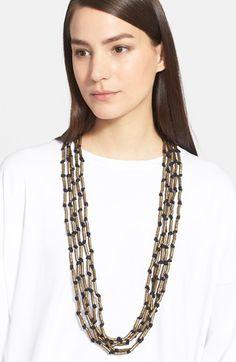 Women's eskandar Long Multistrand Metal Tube Necklace - Brass
