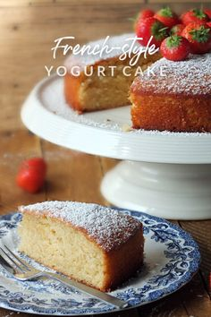 This French-style strawberry yogurt cake is incredibly easy to make and is a great way to use up the last of a pot of yogurt. Cake Recipes Uk, Homemade Cake Recipes, Bakery Recipes, Sweet Recipes, Dessert Recipes, Strawberry Yogurt Cake, Strawberry Cake Recipes, Yogurt Recipes, French Desserts