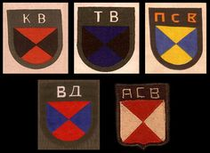 Patches worn by various Cossacks belonging to different regions. Starting at the top row, left to right, they are: Kuban Cossacks (KB), Terek Cossacks (TB), Sibir Cossacks (NCB) - from the 2nd Siberian Cossack Calvary Regiment. Bottom row, from left: Don Cossacks (BA), Astrakhanskoje Vojsko - Astrakhan Siberian Host Cossacks (ACB)