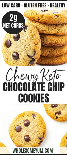 Low Carb Keto Chocolate Chip Cookies Recipe With Almond Flour - The best keto chocolate chip cookies ever! This sugar-free low carb chocolate chip cookies recipe needs only 6 ingredients 10 minutes prep. Keto Friendly Desserts, Low Carb Desserts, Dessert Recipes, Keto Recipes, Cookie Recipes, Cookie Ideas, Dessert Ideas, Snack Recipes, Paleo Dessert