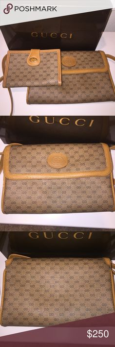 Gucci Vintage Purse Clutch and Wallet w/box Gucci gift box fits the purse but box is more current & not vintage. Box has Gucci tissue & ribbon. Purse has signature mini GG monogram pattern with genuine leather piping with gold tone hardware. Has one inside pocket and another small pocked under the flap closure. Removable strap! clean no rips but one corner has a small scuff. Wallet has pocket for bills & 2 oversized credit card size slots. Coins kiss lock & is beautiful ❤️Sold as a set. ❤…
