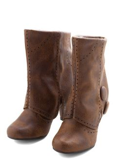 Follow in Your Footsteps Boot in Brown - Short | Mod Retro Vintage Boots | ModCloth.com A good start...