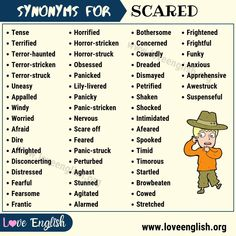 Synonyms for Scared in English Essay Writing Skills, English Writing Skills, Book Writing Tips, Writing Words, English Vocabulary Words, English Phrases, Learn English Words, English Grammar, Words For Scared
