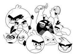 the angry birds family printable coloring pages for children - Fun Coloring Sheets Printable