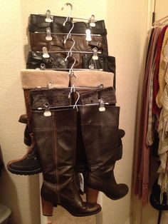 organize boots in tiny closet. Found a way to store my boots