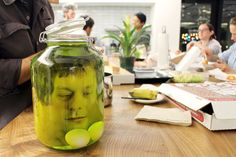 This head in a jar requires a bit of handiwork with photo editing software (or use the flattened face PDF in the link below) but the results are nothing short of terrifying. It's the perfect DIY Halloween decoration for parties.