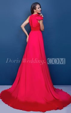 Flamboyant Pleated Chiffon A-Line Dress With Bow and Court Train
