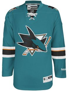 3be874f86f523 San Jose Sharks Official Home Reebok Premier Replica Adult NHL Hockey Jersey  CoolHockey
