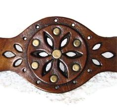 Brown Leather Cuff Punched Flower Karen Kell by karenkell on Etsy, $68.00