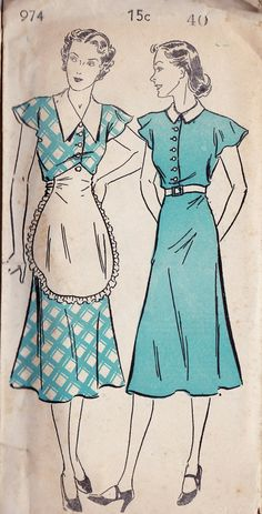 Womens Plus Size House Dress Vintage Sewing Pattern, New York 947 Buttons and collars Vintage Outfits, Vintage Dresses, Vintage Dress Patterns, Clothing Patterns, 1930s Fashion, Vintage Fashion, Victorian Fashion, Fashion Fashion, Patron Vintage