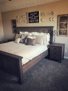 Most Beautiful Rustic Bedroom Design Ideas. You couldn't decide which one to choose between rustic bedroom designs? Are you looking for a stylish rustic bedroom design. We have put together the best rustic bedroom designs for you. Find your dream bedroom. Rustic Master Bedroom, Comfy Bedroom, Modern Bedroom Decor, Master Bedrooms, Bedroom Ideas Master On A Budget, Girls Bedroom, Bedroom Bed, Bedroom Wall Decor Above Bed, Rustic Bedroom Furniture
