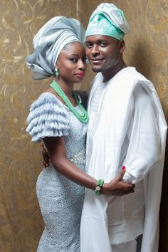 Blue and Green  Aso Ebi   Yoruba Traditional Wedding of Tope and Damilola by Demilade Roberts Photography