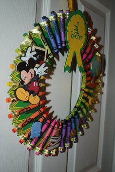 Recycled Crayon Box Crayon Wreath.