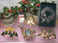 Vintage Christmas Brooch Pins Eisenberg Ice Christmas Tree Gerry's Bell Snow Man