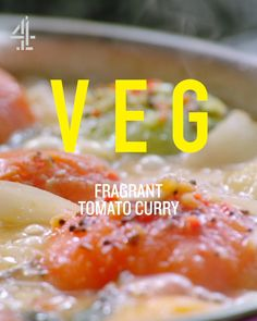 A tasty tomato curry recipe from Jamie Oliver's Meat-free Meals TV show. For best results, cook when you have access to super-ripe tomatoes – it's gorgeous! Vegaterian Recipes, Curry Recipes, Indian Food Recipes, Cooking Recipes, Turkish Recipes, Olive Recipes, Chinese Recipes, Olivers Vegetables, Chefs