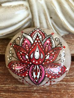 Hand painted stone lotus flower stone art by EmmysHeartsnCrafts