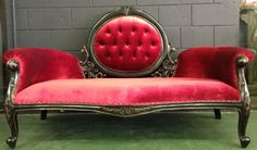 vintage hollywood regency red chaise lounge, etsy.