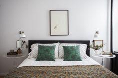 Malachite Pillows + Neutral Bedding + Traditional Lucite Bedside Tables + Bird Art