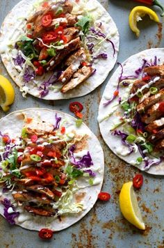 Chicken Tacos with Slaw Salad  &  Lemony Buttermilk, Mayo Dressing