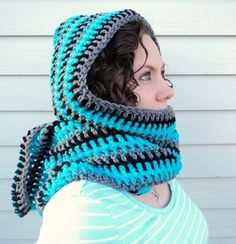 Super Simple Scoodie: Free Crochet Pattern: haha reminds me of a 'thneed' from the Lorax! Crochet Hooded Scarf, Crochet Scarves, Crochet Shawl, Crochet Clothes, Crochet Hooks, Knit Crochet, Love Crochet, Crochet Accessories, Loom Knitting