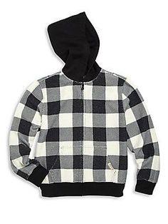 Ralph Lauren Little Boy\u0027s Buffalo Check Hoodie - Polo Black-White