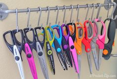 #papercraft #crafting supply #orgnization - Craft scissors organized using IKEA Bygel rail