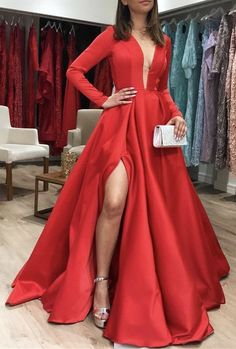 Red Prom Dress,Satin Evening Dresses,A-Line Prom Dresses,Long-Sleeves Prom Gown Anna Bridal Studio Prom Dresses Long With Sleeves, A Line Prom Dresses, Party Dresses, Dress Prom, Bridesmaid Dress, Prom Gowns, Long Dresses, Dress Long, Elegant Dresses
