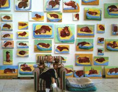 This image comes from the book David Hockney's Dog Days. 1995 BMW 850 CSi Art Car by David Hockney . David Hockney, Arte Dachshund, Dachshund Love, Daschund, Dachshund Puppies, Henri Matisse, Pop Art Movement, Dog Paintings, Dog Portraits