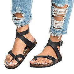 4770e31305c Womens Flat Sandals Buckle Strappy Thong Flip Flop Sandal Summer Shoes any  good