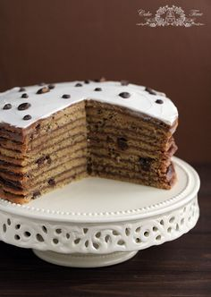 giant cookie cake (Chocolate chip cookie cake) layered with mascarpone cream and Nutella.