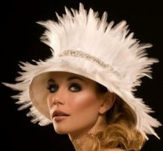 Feather Bell Hat - Arturo Rios Celestine Small brimmed hat of taffeta covered with feathers with sequin beaded pearl band. The Celestine comes in white and black.  Made in the U.S.A.