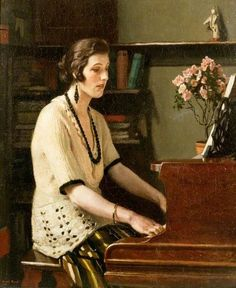 At The Piano by Harold Knight, 1921