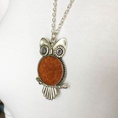 Owl necklace personalized with your flower petals.