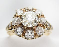 Image result for diamond cluster ring vintage 3 ct