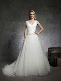 Ball Gown V-neck Tulle Satin Sweep Train Beading Wedding Dresses Shop uk