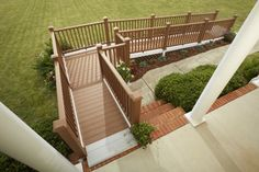 wheelchair ramp ideas   28 ft 90-degree turn ramp with premium composite decking and railing ..