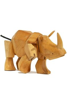 """David Weeks Wooden Animals - Ursa (bear), Simus (rhino), and Hattie (elephant) feature hardwood frames, elastic 'muscles' and durable wood limbs that are """"almost impervious to breakage"""" - great for kids and adults alike!"""