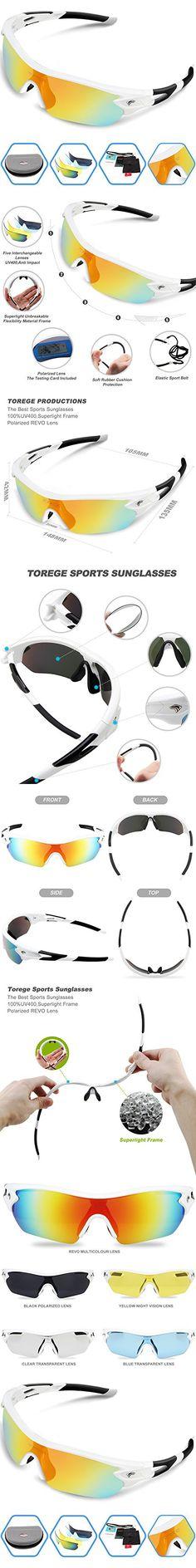Torege Polarized Sports Sunglasses With 5 Interchangeable Lenes for Men Women Cycling Running Driving Fishing Golf Baseball Glasses TR002 (White&Black)