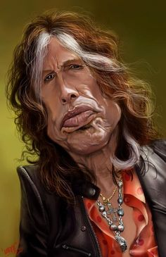 From Wikipedia: Steven Tyler (born Steven Victor Tallarico on March is an American singer, songwriter, and multi-instrumentalist, best known as the frontman and lead singer of the Boston-based rock band Aerosmith, in which Cartoon Faces, Funny Faces, Cartoon Art, Funny Caricatures, Celebrity Caricatures, Steven Tyler, American Idol, American Singers, Caricature Art