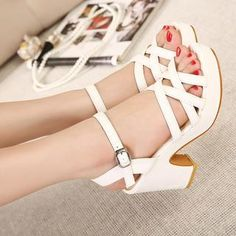 effd939f24d6c Cross Strap Platform Chunky Heel Sandals from  YesStyle  3 X Times  YesStyle.co.uk China