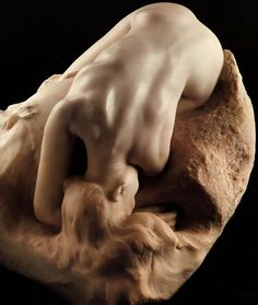 Auguste Rodin - Danaid, 1889. Musee Rodin, Paris. Modelled for The Gates of Hell circa 1885, this figure was eventually excluded from the final version of the portal. Adapting a mythological theme – the daughters of Danaos, or Danaïds, were made to fill up a bottomless barrel with water in punishment for killing their husbands on their wedding night – Rodin above all constructed a feminine landscape by highlighting the curve of the back and neck.