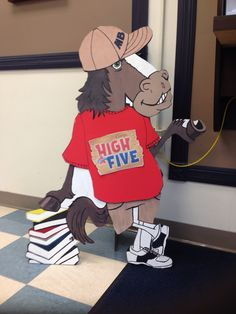 Boosterthon Camp High Five @ Bryant Elementary, Tampa FL 10/2013 Mascot Bronco Billy wearing a Camp High Five jersey in the front office