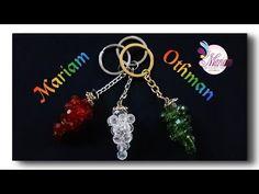 طريقة عمل ميدالية عنقود العنب _ مريم عثمان | How to make beaded keychain - YouTube