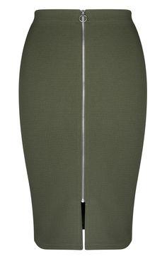 Primark - Jupe crayon kaki côtelée avec zip