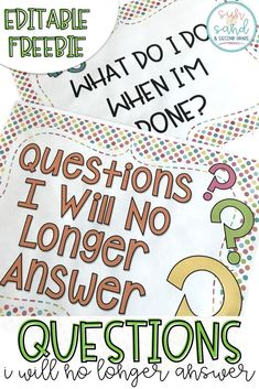This free classroom management tool will save your sanity during the end of the year chaos! Do you get tired of answering questions your students KNOW the answers to…post these questions I will no longer answer on your board. It's MAGIC!! You'll (almost) never hear these questions again!!! Grab this editable FREEBIE now!!